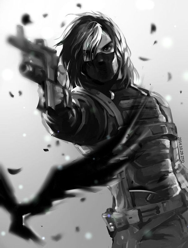 Winter Soldier <-- beautifully drawn picture, he almost looks like jason todd with the white streak in his bangs
