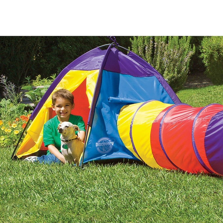 Multi-coloured adventure tent with extending tunnel for quick entries and exits. Quick and easy to pop up and play in.