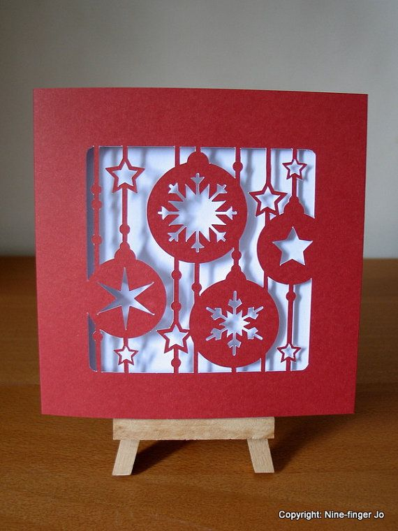 Papercutting Template 5 Christmas Card DIY by NineFingerJo