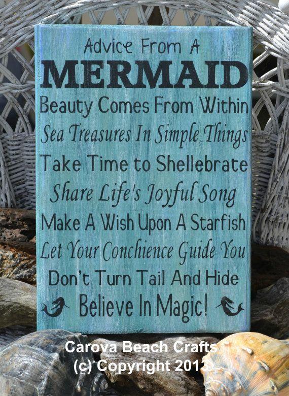 Beach Decor - Beach Sign - Mermaid - Coastal Sign - Nautical - Hand Painted, No Vinyl - Mermaid Decor - Advice From A Mermaid - Wood