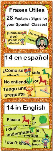 Spanish Classroom Signs / Posters of Useful Phrases, Common Questions and Frases Utiles.  Great for Back to School, Help decorate your Classroom!  Bulletin Board or Word Wall  Spanish 1, La Profesora Frida, Teachers Pay Teachers