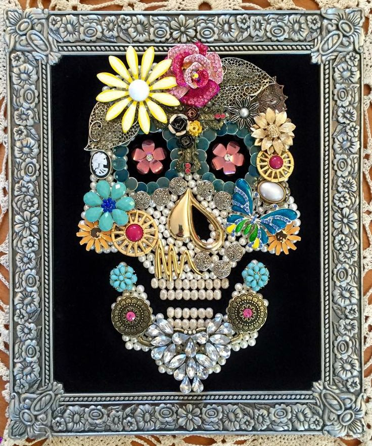 Handmade upcycled vintage jewelry skull framed artwork