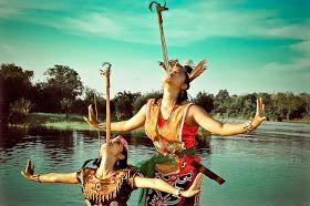 Mandau dance, Dayak tribe. Central Kalimantan
