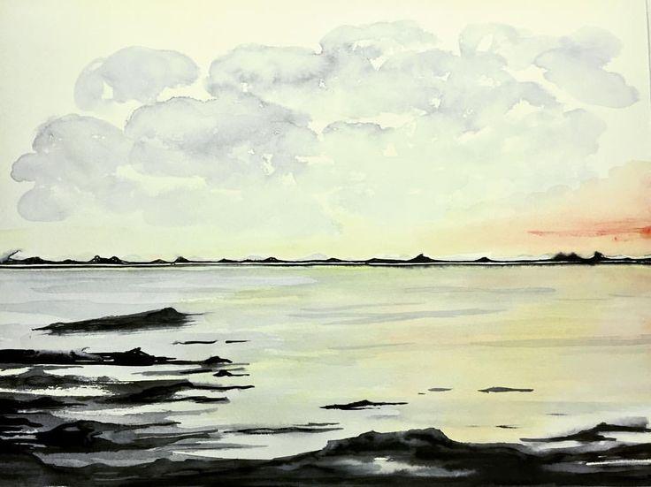 Norwegian seashore (ElinArt - September 2017) watercolors