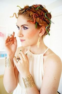 Glue toy snakes onto bobby pins and add to your hair for a last-minute Medusa look. | 21 Insanely Creative Dollar Store Halloween Costumes That Will Impress Everyone
