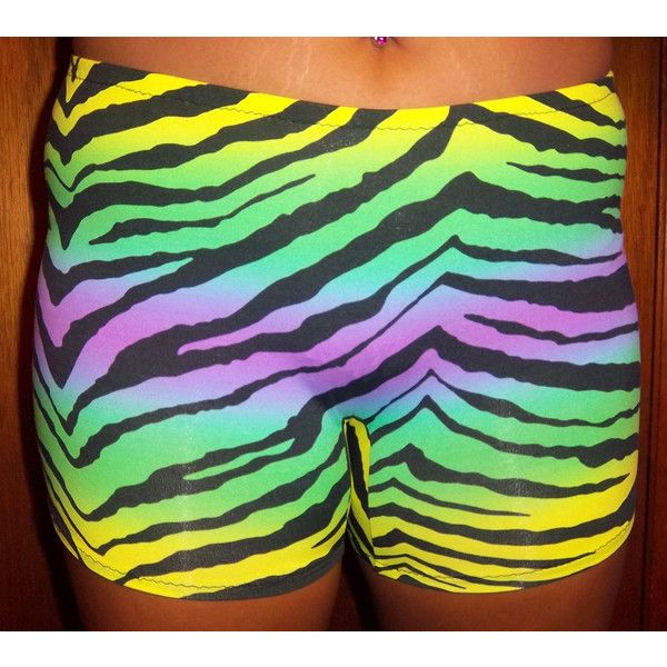 Colorful Zebra Shorts Vollyball Spendex Shorts for Women Running... ($17) ❤ liked on Polyvore featuring grey and women's clothing