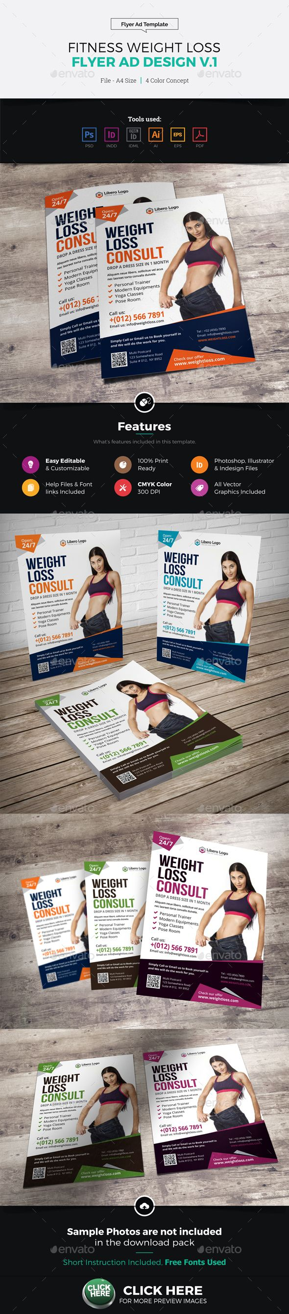 Fitness Weight Loss A5 Flyer Design Template PSD, Vector EPS, InDesign INDD, AI Illustrator