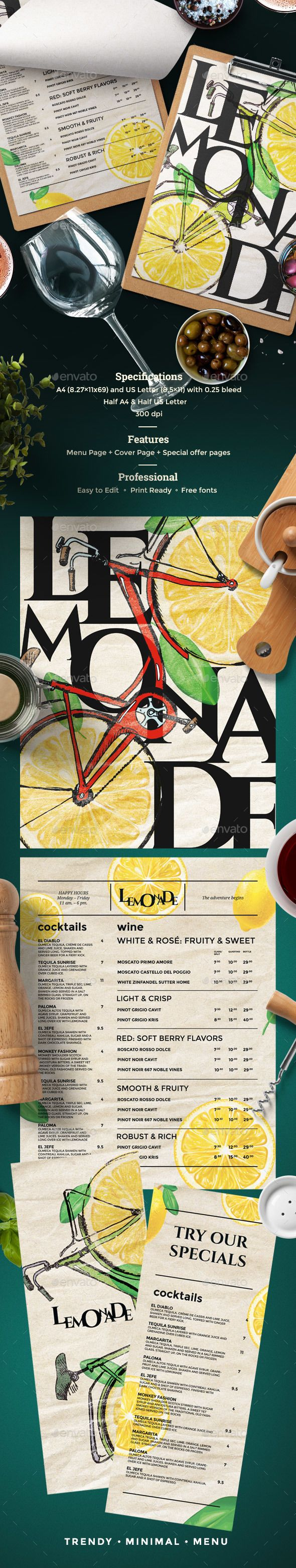 Drinks Menu — Photoshop PSD #restaurant #menu • Download ➝ https://graphicriver.net/item/drinks-menu/21496020?ref=pxcr