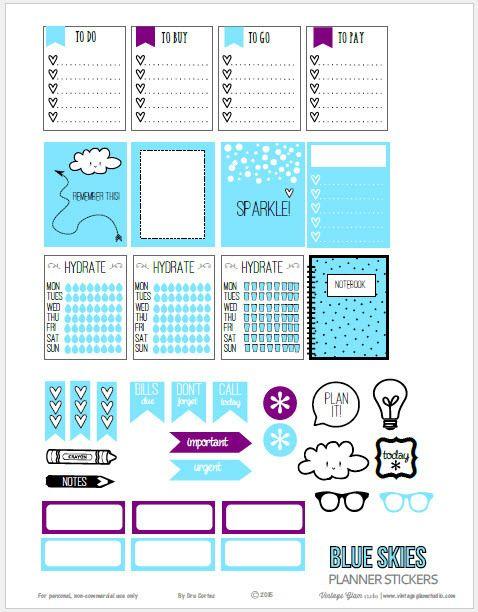 Cielos azules planificador Pegatinas | descarga imprimible gratuito adecuado para los planificadores Erin Condren u otros planificadores semanales verticales.