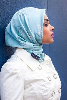 Sport a pale blue hijab with pink lipstick. | 23 Seriously Beautiful Hijab Styles To Try