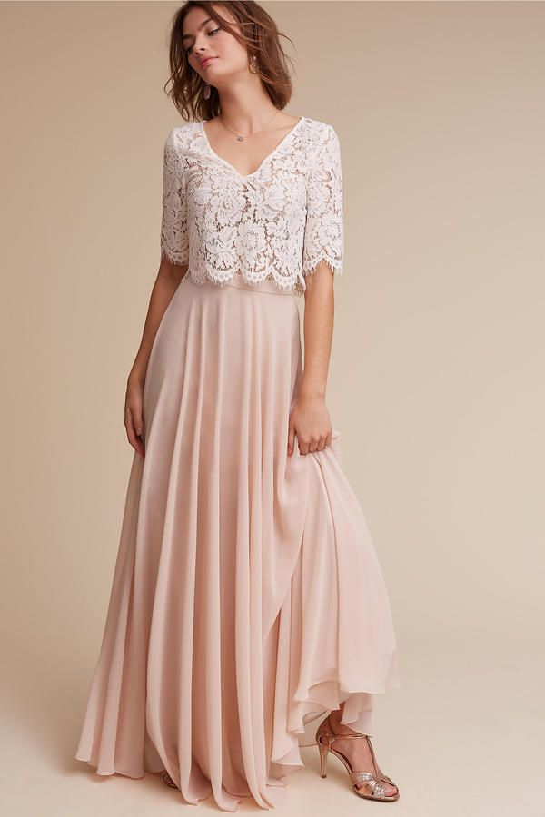 Separates - 7 Bridesmaid Dress Trends for 2017 - Southernliving. For a more non-traditional wedding party, two-piece outfits are a trendy way to change up classic silhouettes, and give bridesmaids the ability to customize their separate pieces.  bldhn.com