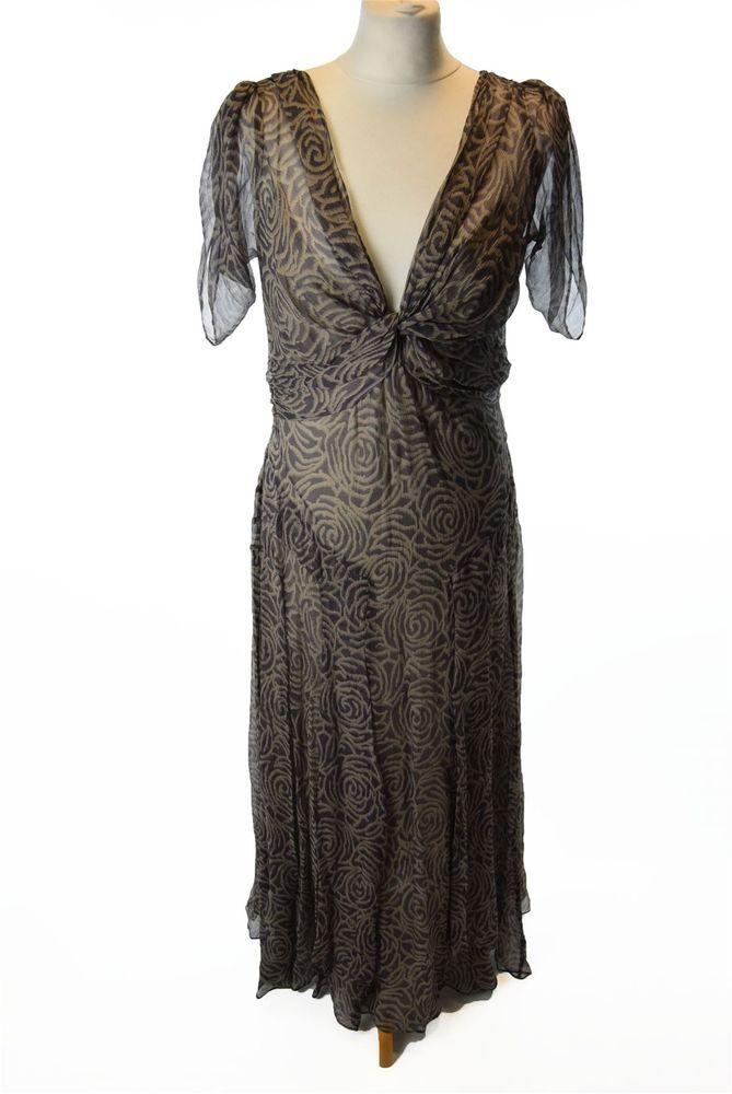 NICOLE FARHI Grey Patterned 100% Silk Maxi Dress, UK 16 US 12 EU 42 | Clothes, Shoes & Accessories, Women's Clothing, Dresses | eBay!