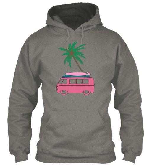 Vintage Pink VW Van Women's Surf Hoodie