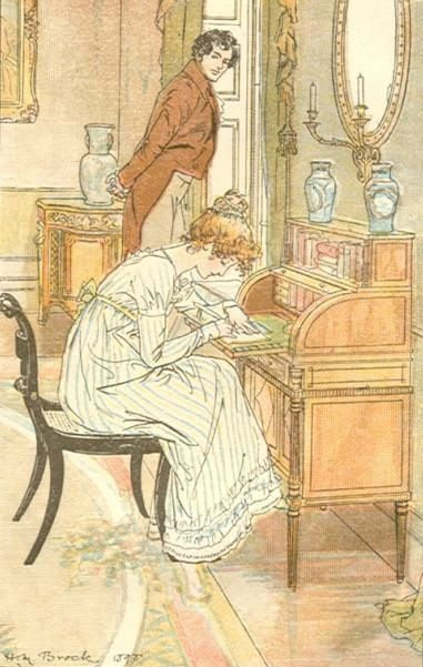 H. M. Brock 'Returning to her seat to finish a note' from Mansfield Park by Jane Austen