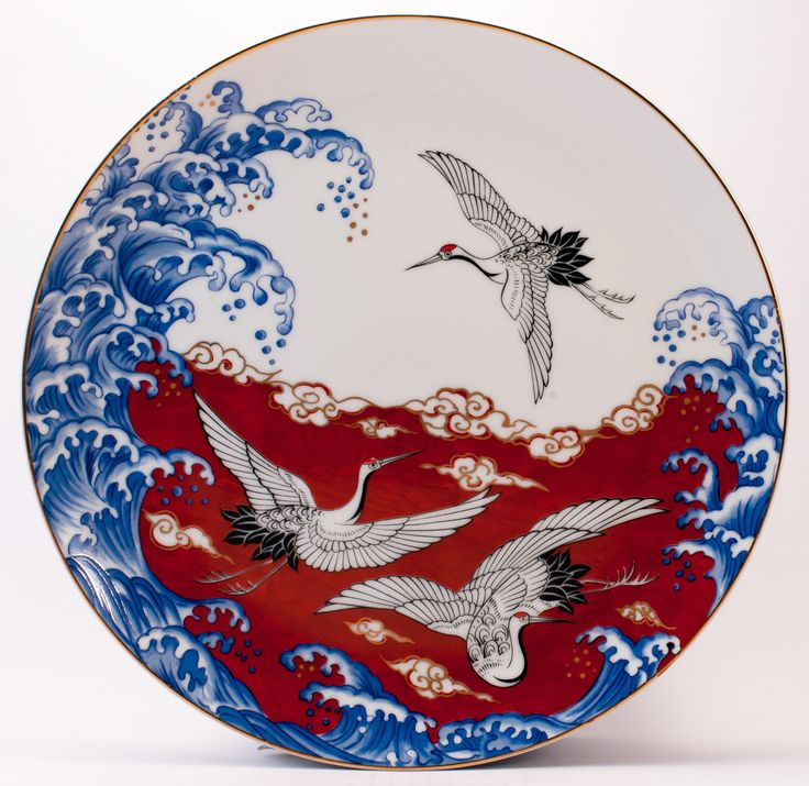 Japanese Birds at sea decorative plate