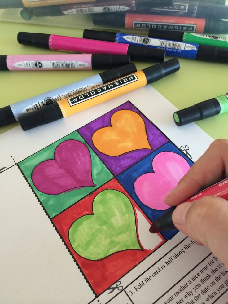 Pop Art Mother's Day cards for kids to color and write a sweet note to mom! 12 designs inspired by famous pop art artists like Andy Warhol, Robert Indiana and Wayne Thiebaud.