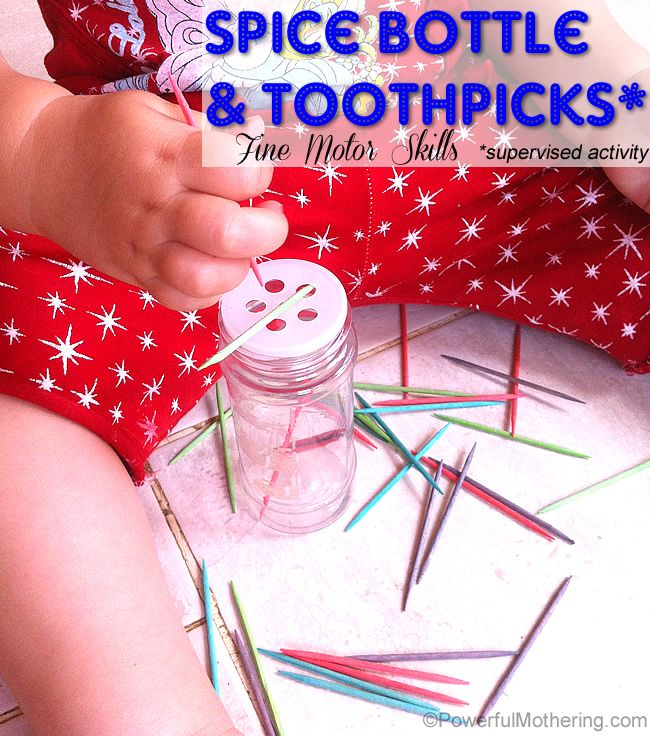fine motor skills spice bottles and toothpicks