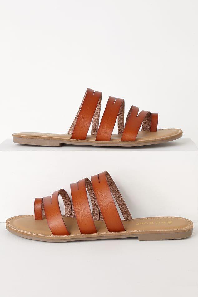 7e228b9b930 Camilla Tan Strappy Slide Sandals   shoes in 2019   Sandals, Slide ...
