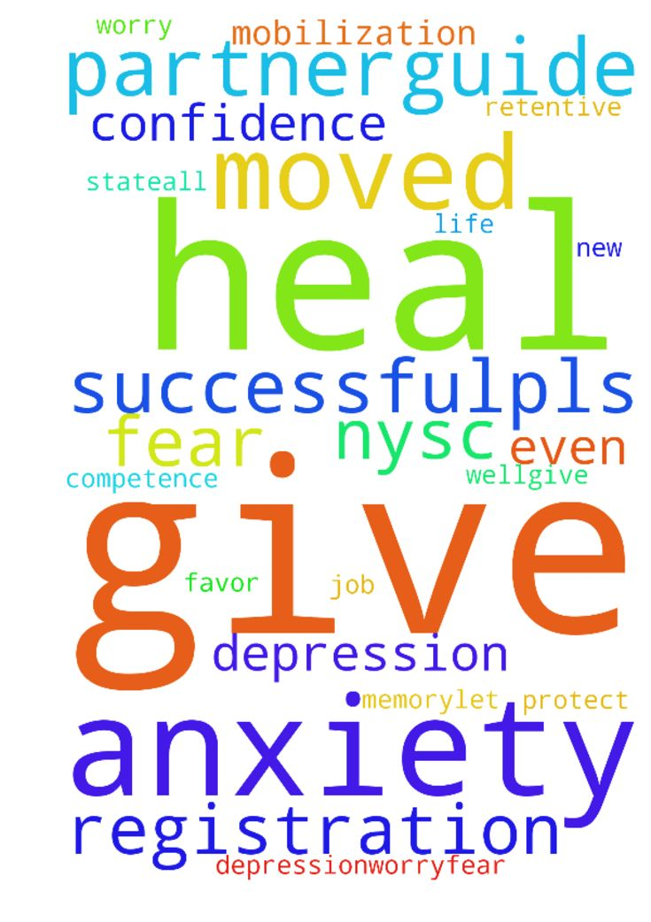 God heal me from depression,worry,fear and anxiety - God heal me from depression,worry,fear and anxiety give me the confidence and competence to do my job well.give me favor and give me retentive memory.let my NYSC mobilization and registration be successful.pls give me a life partner.guide and protect me even as I have moved to a new state.all these I ask in Jesus name  Posted at: https://prayerrequest.com/t/txe #pray #prayer #request #prayerrequest
