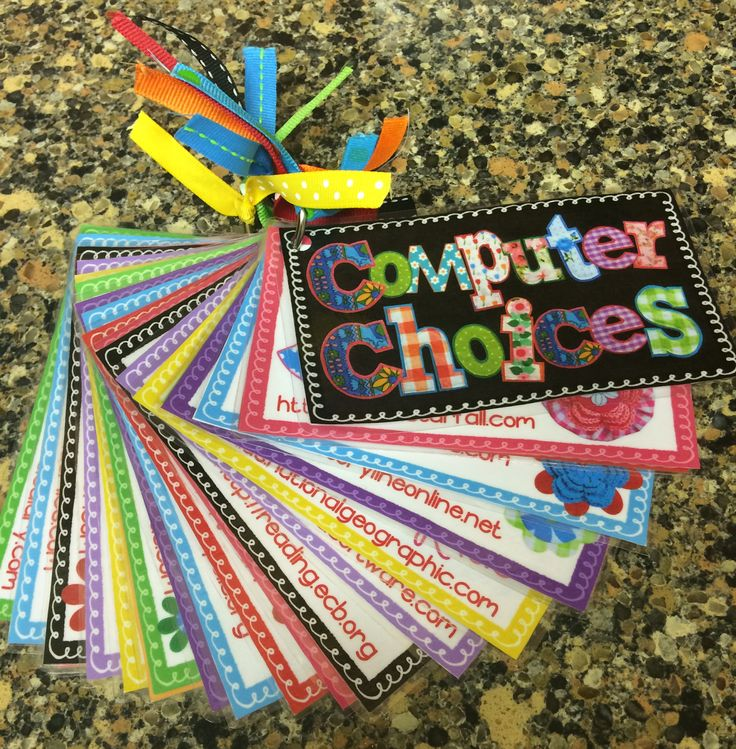 FREE Computer Choice cards with tons of free site choices! I will be using this with my free tech time reward coupons! #freebie