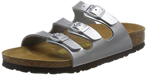 BIRKENSTOCK Florida Womens silver Birko-Flor Mules 41 EU (10-10.5 R US Women) *** Check out this great product.
