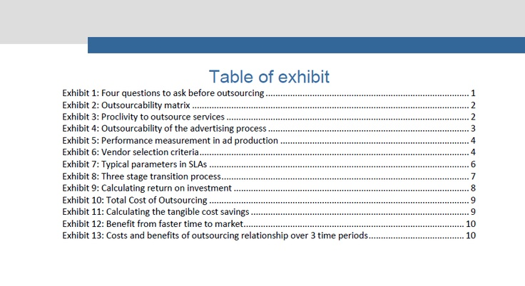Table of Exhibits for ValueNotes white paper  - lpo template word