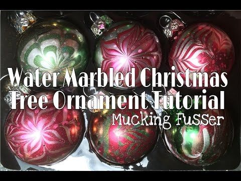 Water Marbled Christmas Tree Ornament Tutorial - YouTube