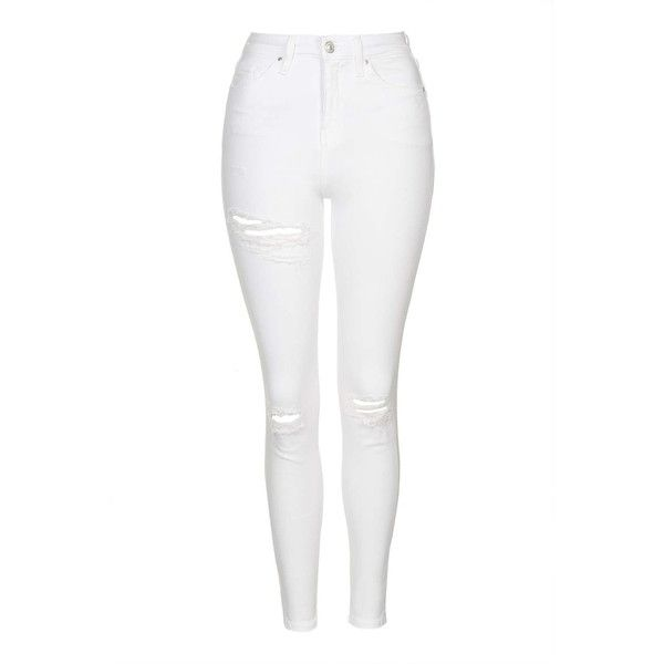 TopShop Moto Super Rip Jamie Jeans ($64) ❤ liked on Polyvore featuring jeans, white, high-waisted skinny jeans, stretch skinny jeans, high waisted jeans, ripped skinny jeans and distressed skinny jeans