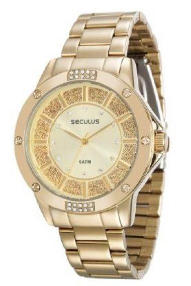 28734LPSVDS1 Relógio Feminino Dourado Seculus Glamour | Guest Club