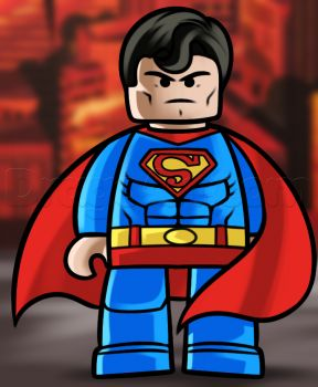 how to draw superman from the lego movie