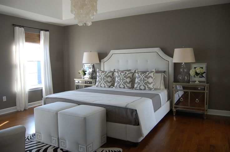 Crisp & clean. This grey and white bedroom is not boring! Design elements include: pattern, texture, and a touch of glam