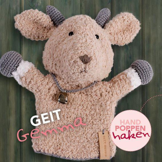 Geit Gemma uit mijn boek Handpoppen haken #haken #haakpatroon #gehaakt #amigurumi #knuffel #gehaakt #crochet #häkeln #cutedutch