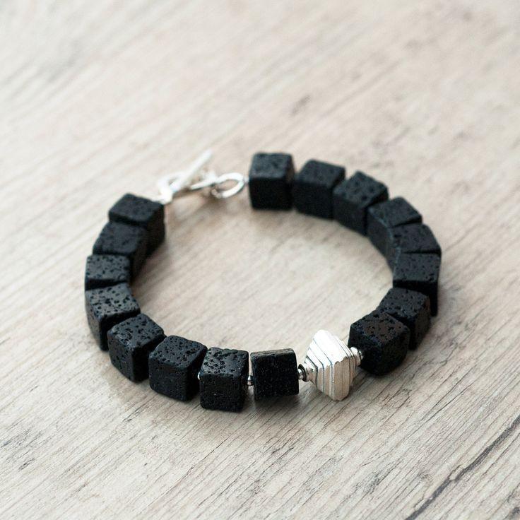Santorini Bracelet, Black Lava Rock Bracelet, Square Lava, Geometric Bracelet, Black Jewelry, Santorini Lava Jewelry, Minimalist Bracelet by SunSanJewelry on Etsy