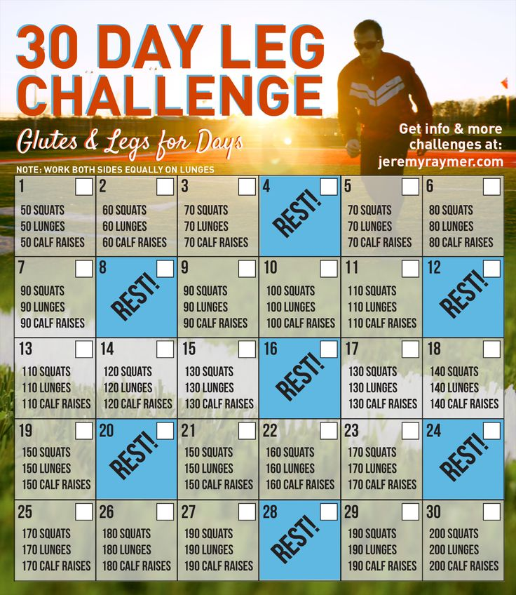 Take on this fun 30 Day Leg Challenge with Glutes and Legs for Days!