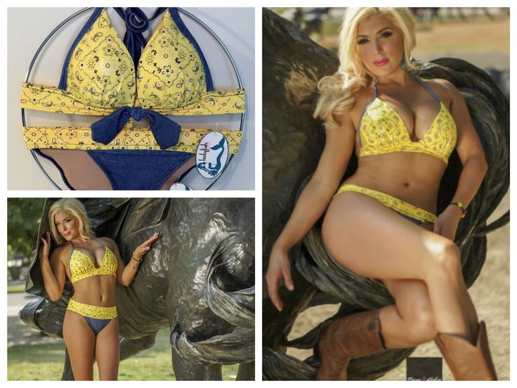 Bright yellow bandana print triangle push up bikini top with denim straps , bra tie, and Ladyfish Couture signature bikini bra for added push up and support. Multiway bikini bottom in blue denim with a yellow bandana waistband you can fold up for more moderate coverage, or fold down for that original daring Ladyfish look.