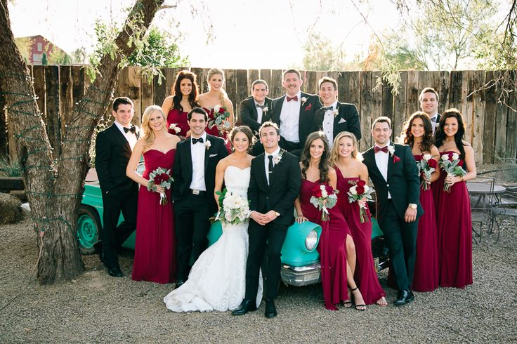Vienna Glenn Photography | Bridal party | Arizona wedding | fall winter wedding | red maroon black white turquoise | bridesmaids | windmill winery