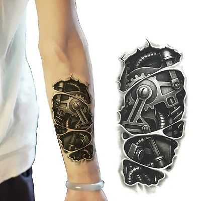 Temporary 3D Large Waterproof Tattoos Stickers Mechanical Arm Fake Transport in Health & Beauty,Tattoos & Body Art,Temporary Tattoos | eBay