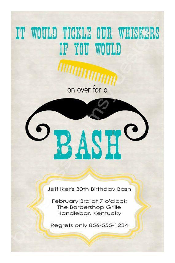 Cute invite! Mustache theme