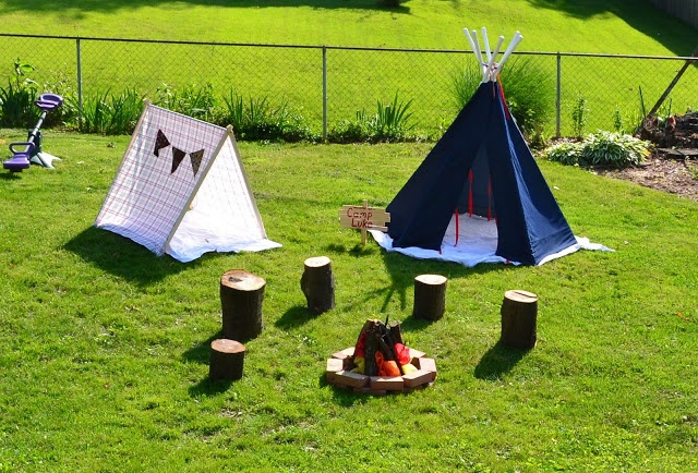Camp out birthday party!  Great Ideas!!  Scavenger hunt, faux fishing, lightning bugs, camping stories and S'mores!!