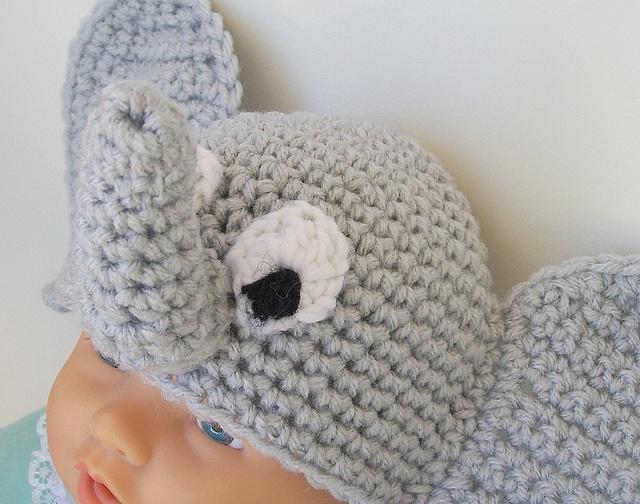 Ravelry: Baby Elephant Beanie Hat Crochet Pattern newborn-2 month size pattern by Alaina Smith