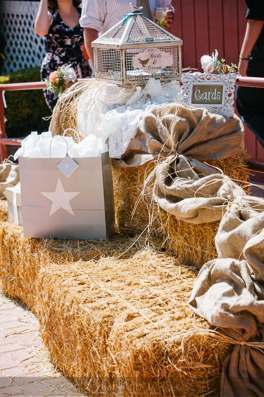 Hay bales as a gift table
