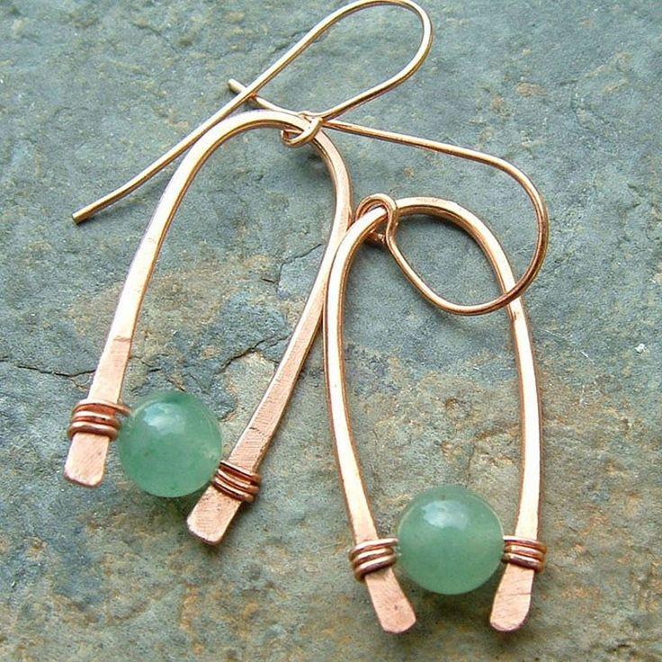 Earrings 14k rose gold inverted hoops green aventurine