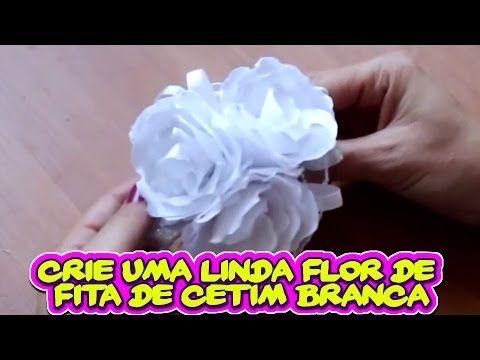 Crie uma Linda Flor de Fita de Cetim na Cor Branca