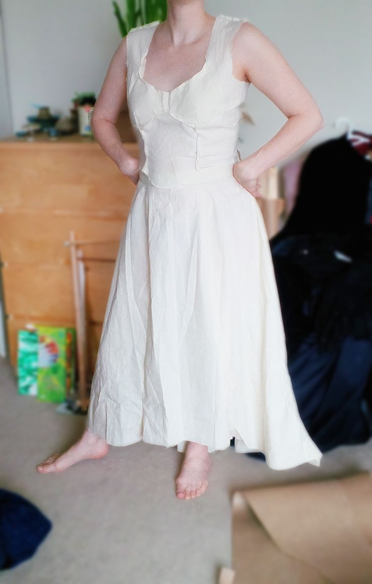 Heather testing the fit of a muslin pattern: Battle Gown (Queens of Avalon musical, produced by Heather Dale). Costume design: Hilary Doda