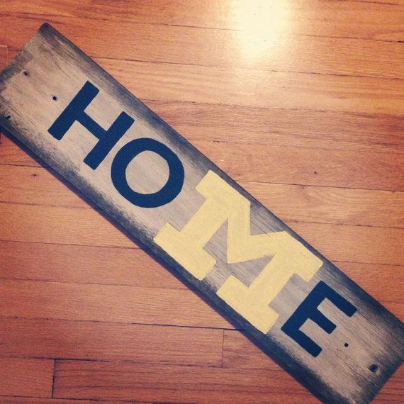 University of Michigan Reclaimed Wood HOME Sign by MaizeAndBlueMom, $45.00