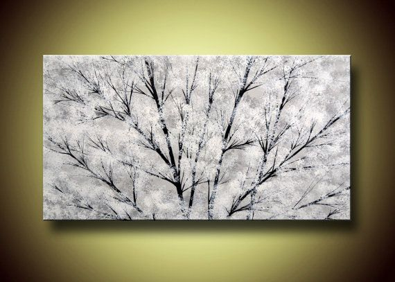 Snowfall Large 48 X 30 Landscape Ready To Hang by PaintAddict, $199.99