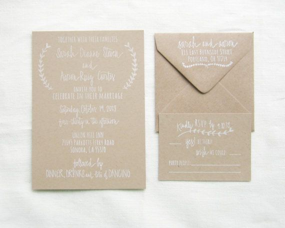 Hand Lettered Wedding Invitation Stamp Suite with Invite, RSVP card and address stamp by Paper Sushi