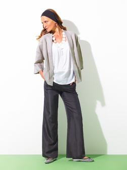 Slouch appeal - washed linen jacket, silk cami, sandwashed silk wide leg pull on pants, shell necklace.