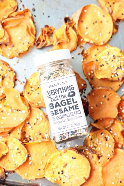 All you need for these Everything Bagel Sweet Potato Chips are two sweet potato chips, olive oil, and TJ's Everything but the Bagel Sesame Seasoning Blend!