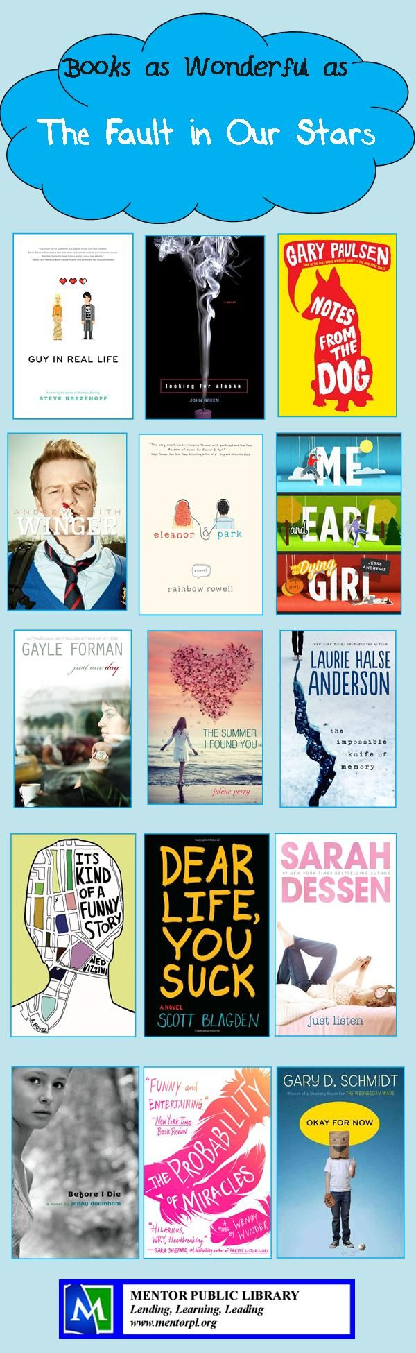 "Need something after the heartbreaking beauty of ""The Fault in Our Stars""? Try some of these books."